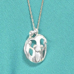 Jewelry - 4 CHILD FAMILY SCULPTED STERLING NECKLACE